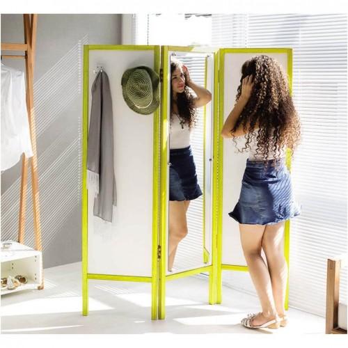 Biombo Ammy Divisor de Ambientes Com Espelho - Branco Com Amarelo - Tommy Design