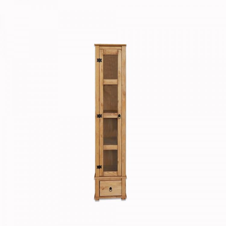 Torre 4 Prateleiras + 1 Gaveta + 1 Porta de Vidro Madeira Maciça  - Tommy Design