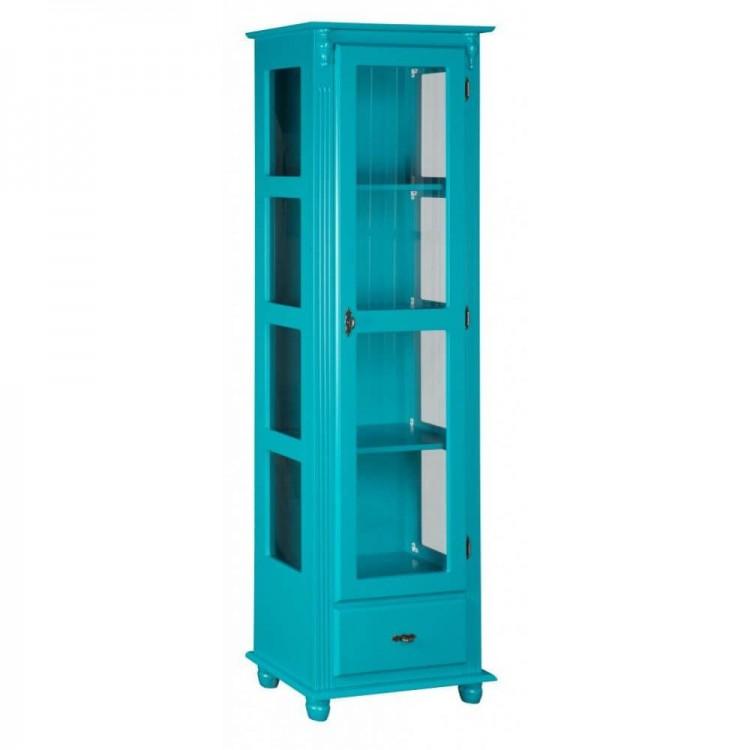Torre 1 Porta Vidro + 1 Gaveta Lateral Com Vidro - Azul - Tommy Design