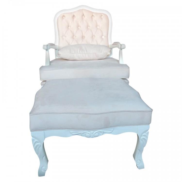 Conjunto Poltrona King + Puff Imperatriz - Branco - Tommy Design