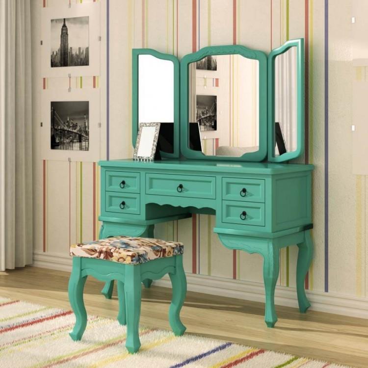 Penteadeira Cortona 5 Gavetas com Espelho + Banqueta - Azul Turquesa - Tommy Design