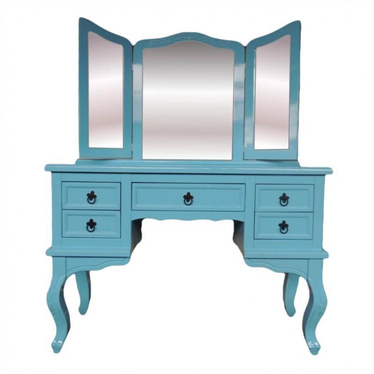 Penteadeira Cortona 5 Gavetas com Espelho + Banqueta - Tiffany - Tommy Design