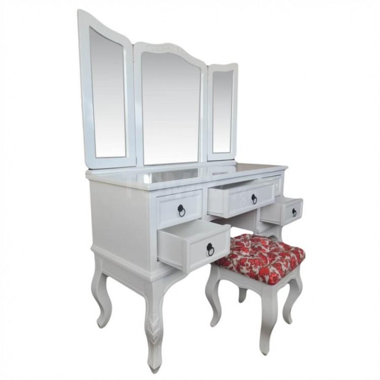 Penteadeira Cortona 5 Gavetas com Espelho + Banqueta - Branco - Tommy Design