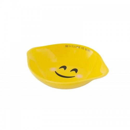 Assadeira Redonda Com Aba 18Cm Amarela - Felicidade - Linha Diverticon - Mondoceram - Tommy Design