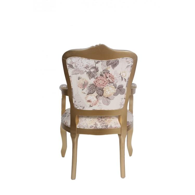 Poltrona Luis Xv - Dourada/floral - Tommy Design
