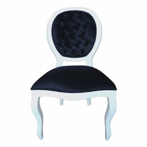Cadeira Medalhão Sem Braço - Branco com Encosto Capitonê - Tommy Design