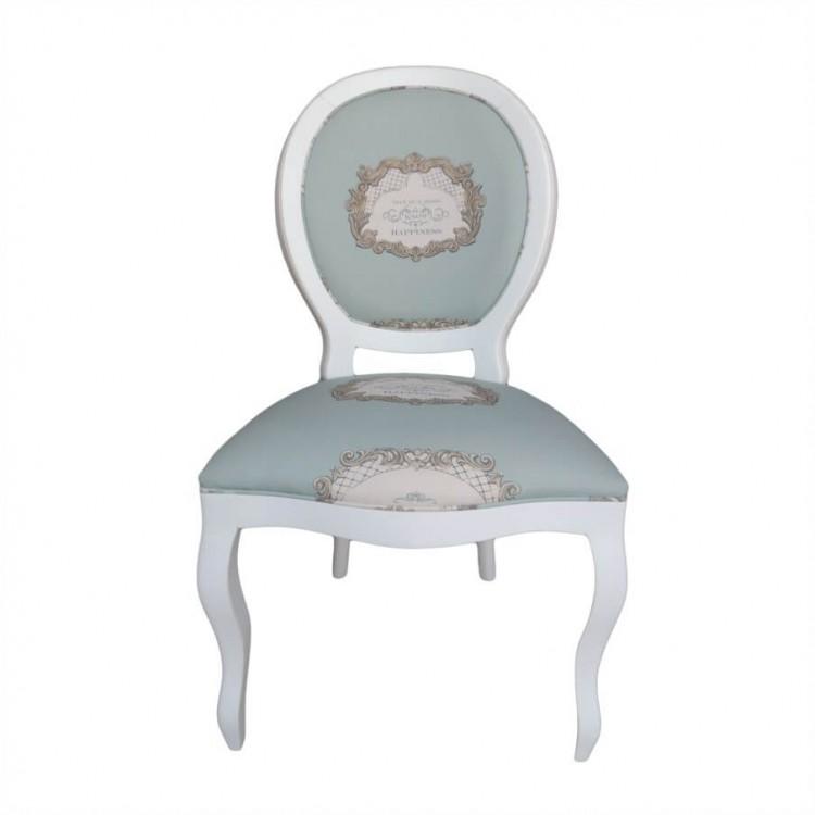 Cadeira Medalhão Lisa - Branco Sem Braço com Estampa - Tommy Design