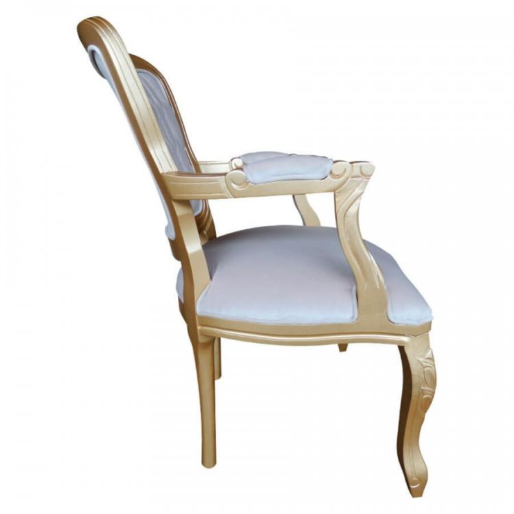 Poltrona Luis Xv - Dourado com Areia - Tommy Design