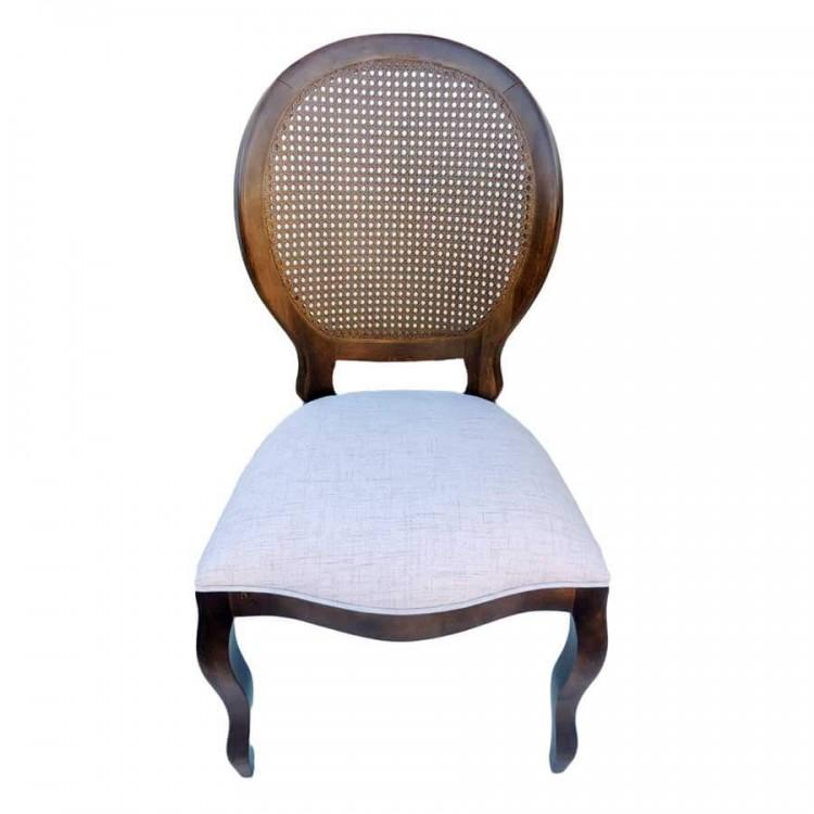 Cadeira Medalhão - Imbuia  Sem Braço com Palha - Tommy Design