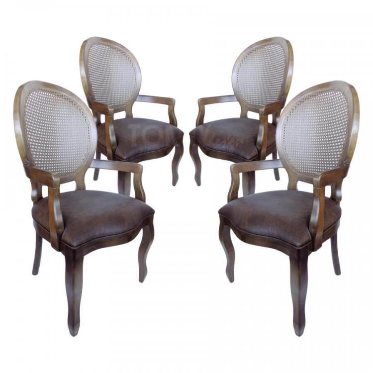 Conjunto 4 Cadeiras Medalhão Liso com Braço e Palha - Imbuia - Tommy Design