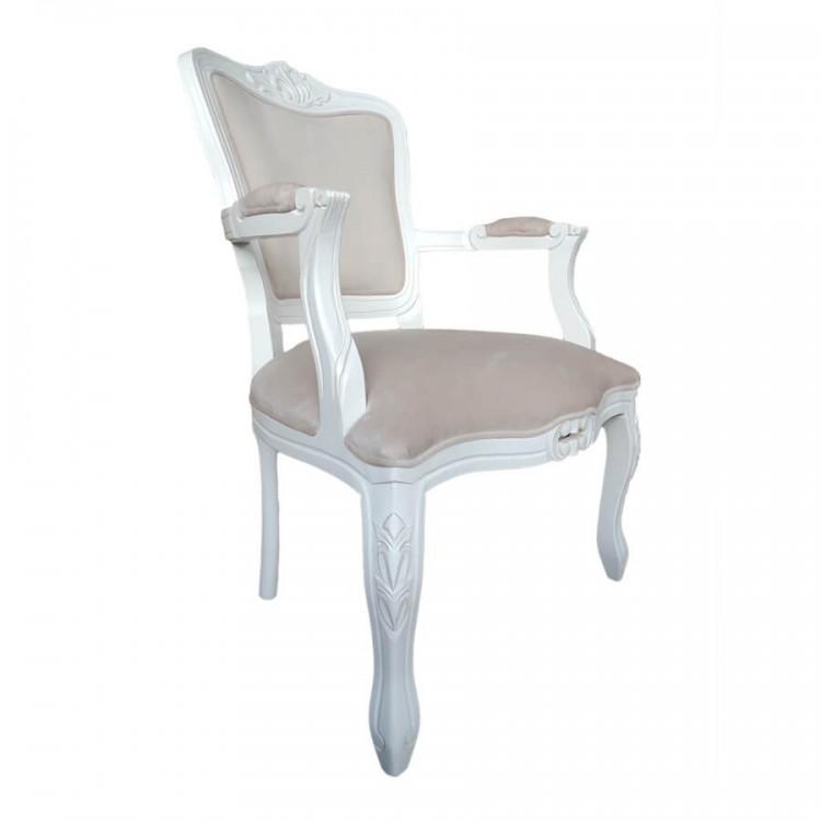 Conjunto Poltrona E Puff Luis Xv - Branco Provençal Entalhado - Tommy Design