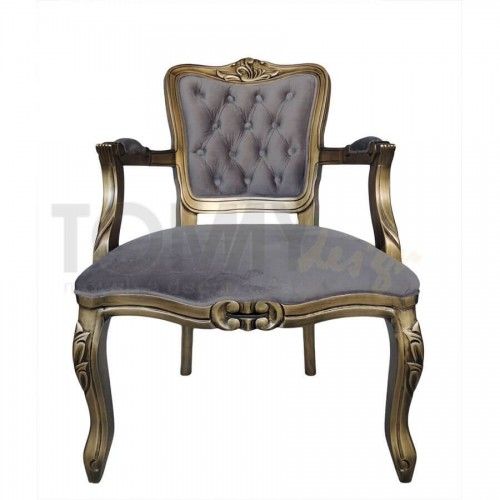 Poltrona Luis Xv Ouro Envelhecido - Cinza - Tommy Design