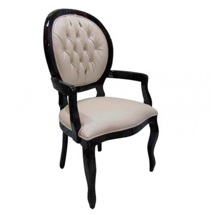 Cadeira Medalhão Lisa - Preto com Braço e Capitonê - Tommy Design