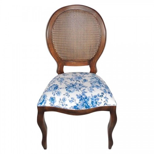 Cadeira Medalhão Estampada - Imbuia  Sem Braço com Palha - Tommy Design