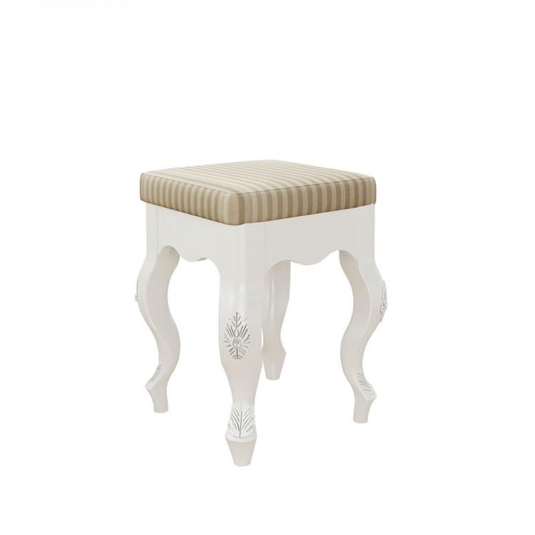 Penteadeira Entalhada Com Banqueta - Branco Com Imbuia - Tommy Design