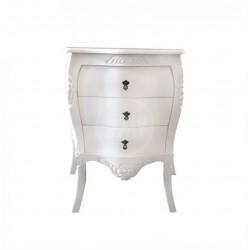 Criado Mudo Luiz Xv Lyons - Entalhado Branco 3 Gavetas - Tommy Design