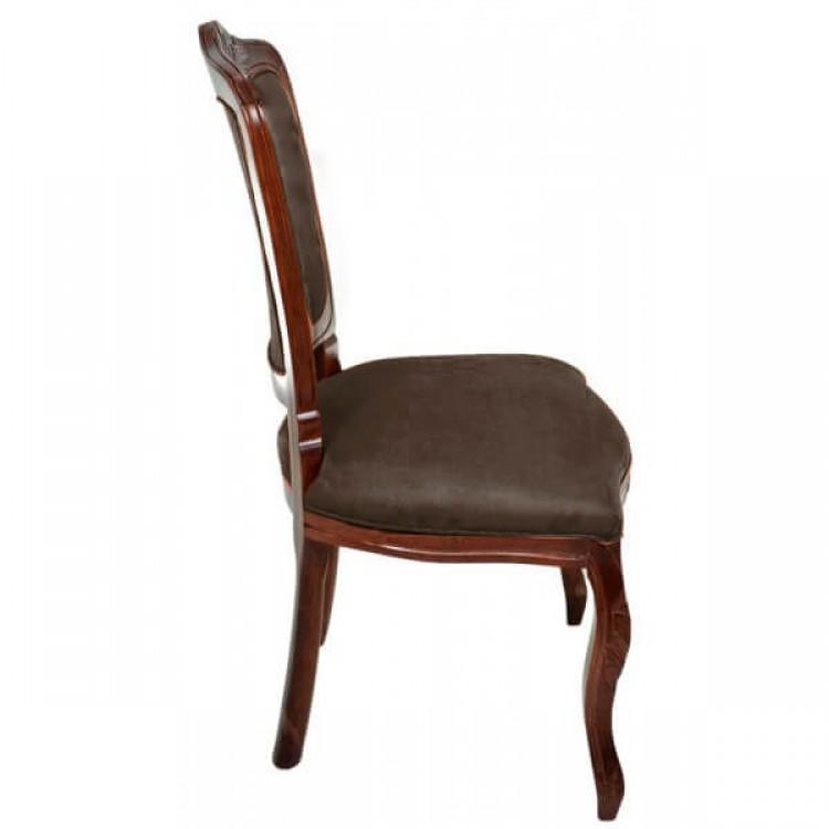 Cadeira Dom Pedro Sem Braço Entalhada - Imbuia E Marrom - Tommy Design