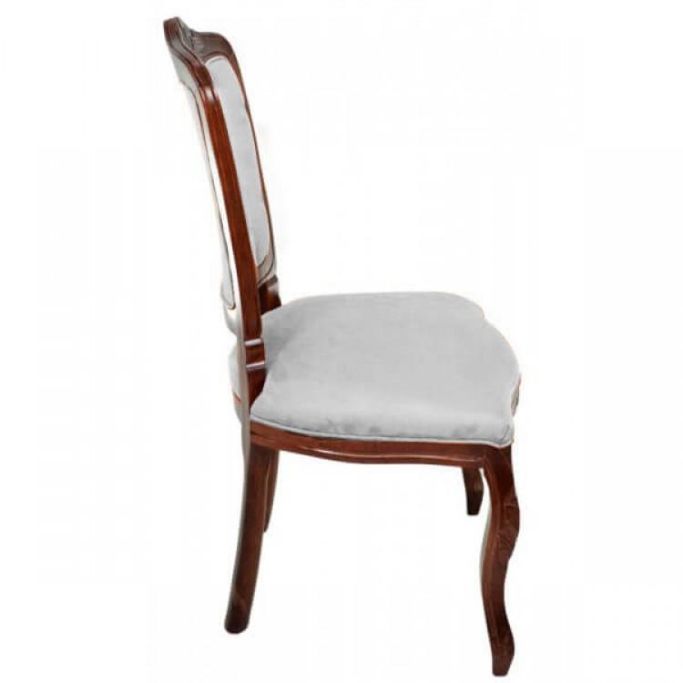 Cadeira Dom Pedro Sem Braço - Imbuia E Off White - Tommy Design
