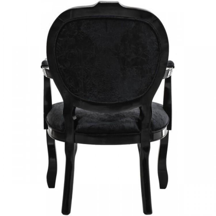 Cadeira Medalhão Entalhada com Braço - Preto com Veludo Amassado - Tommy Design