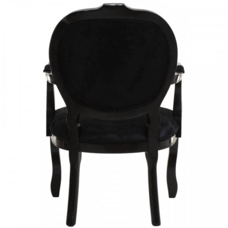 Cadeira Medalhão Entalhada com Braço - Preto Brilhante - Tommy Design
