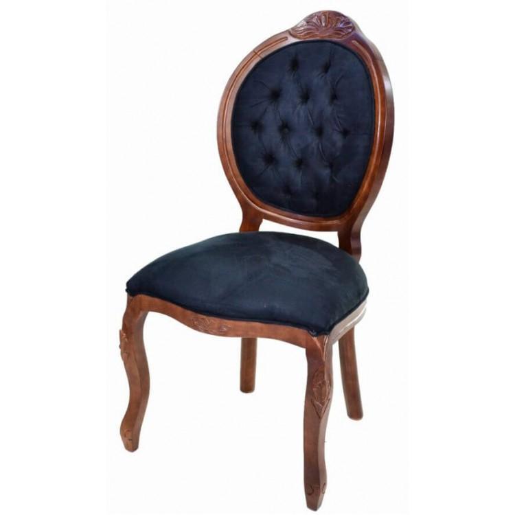 Cadeira Medalhão Entalhada Sem Braço - Imbuia E Azul - Tommy Design