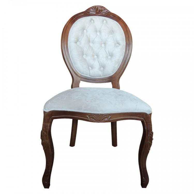 Cadeira Medalhão Entalhada Sem Braço - Imbuia e Tecido Areia - Tommy Design