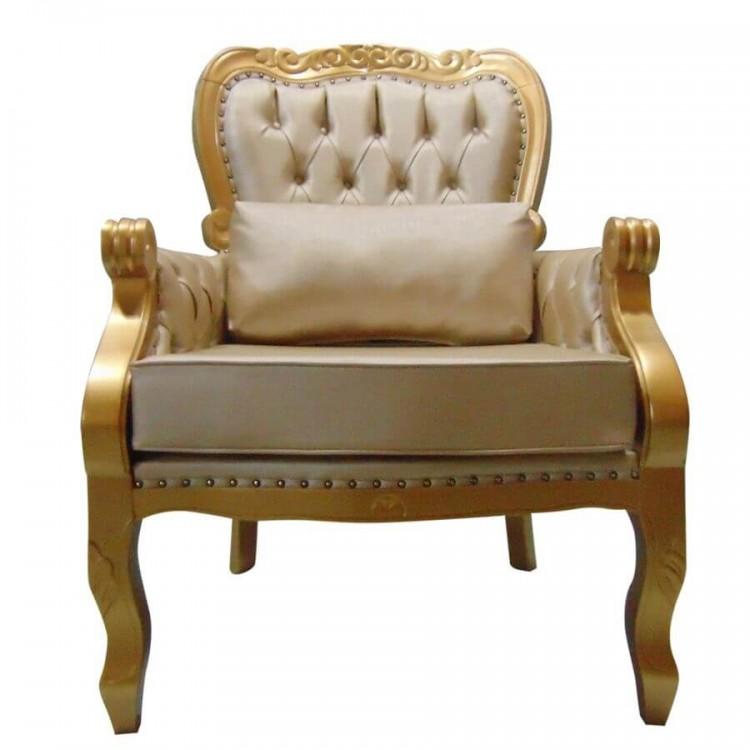 Poltrona  Imperador - Dourado com Tacha - Tommy Design