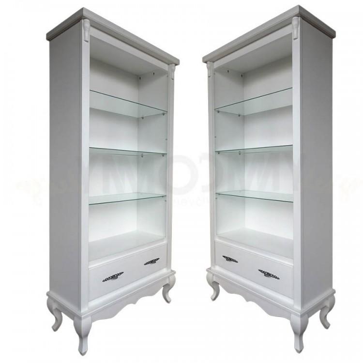 Conjunto 2 Estantes com 1 Gaveta E 4 Prateleiras  - Branco Provençal - Tommy Design