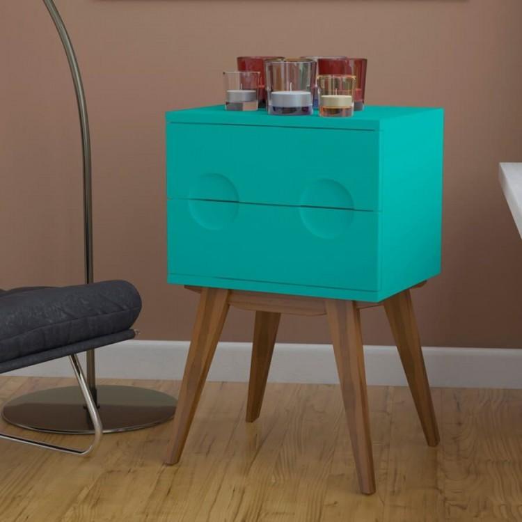 Criado Mudo Félix - Azul Turquesa - Tommy Design