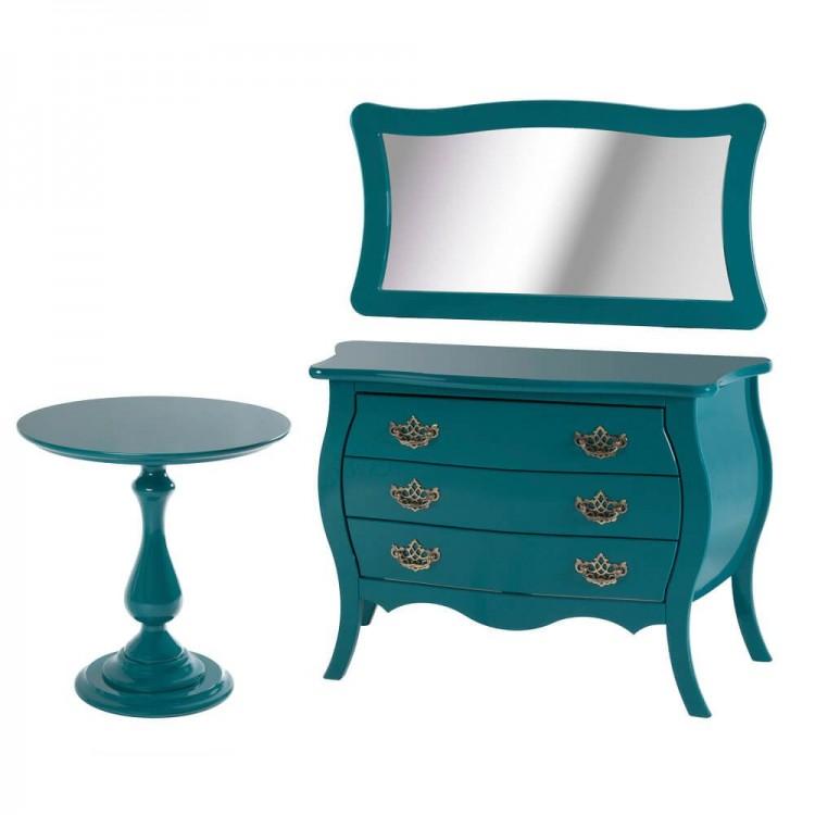 Moldura Com Espelho Titanium - Azul Turquesa - Tommy Design
