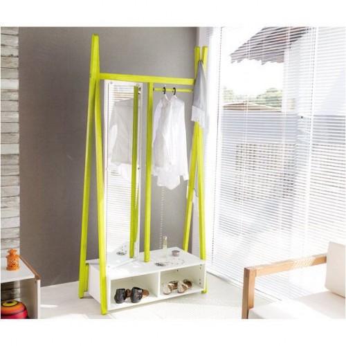 Arara Cabideiro Multifuncional Com Espelho Giratório 96 Cm - Amarelo - Tommy Design