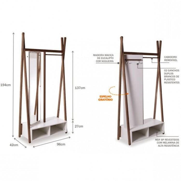 Arara Cabideiro Multifuncional Com Espelho Giratório 96 Cm - Nogueira - Tommy Design