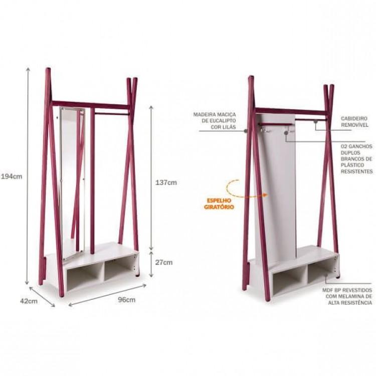 Arara Cabideiro Multifuncional Com Espelho Giratório 96 Cm - Lilás - Tommy Design