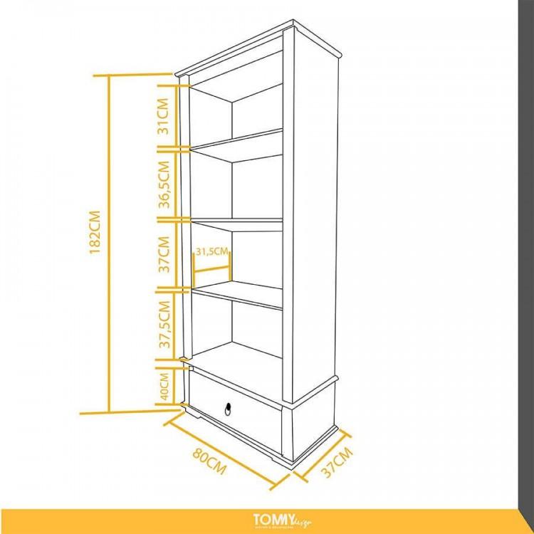 Estante 4 Nichos + 1 Gaveta com Vidro Lateral - Tommy Design