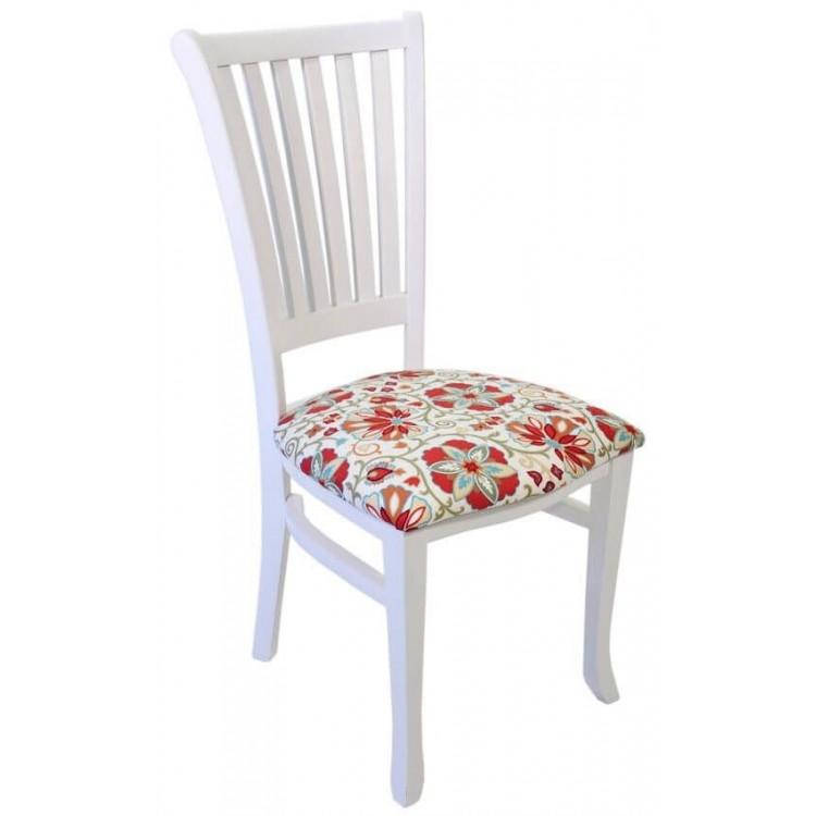 Cadeira Plaza - Branco E Flores Vermelhas - Tommy Design