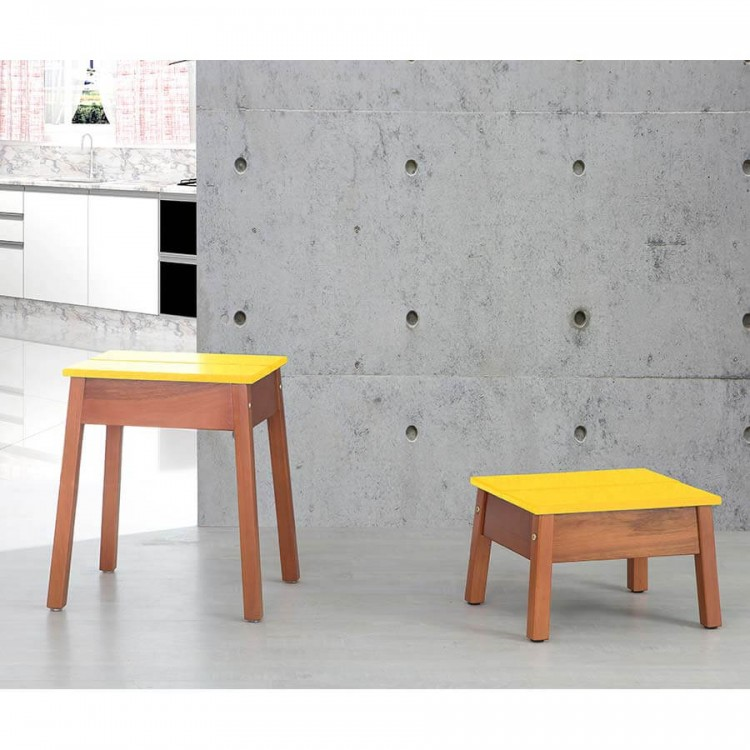 Kit Banqueta Duo Natural - Amarelo - Tommy Design
