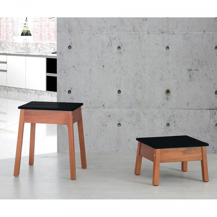 Kit Banqueta Duo Natural - Preto - Tommy Design